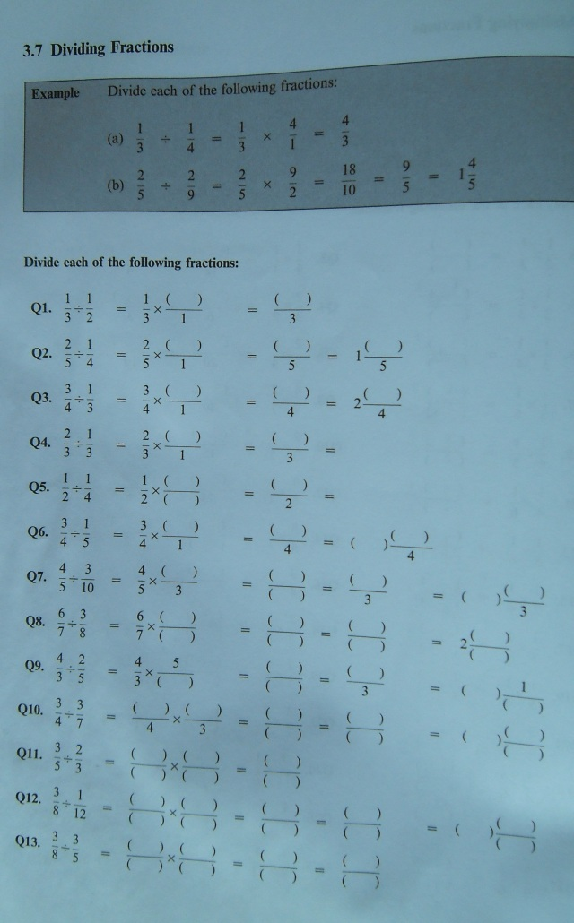 Practice sheet for dividing fractions