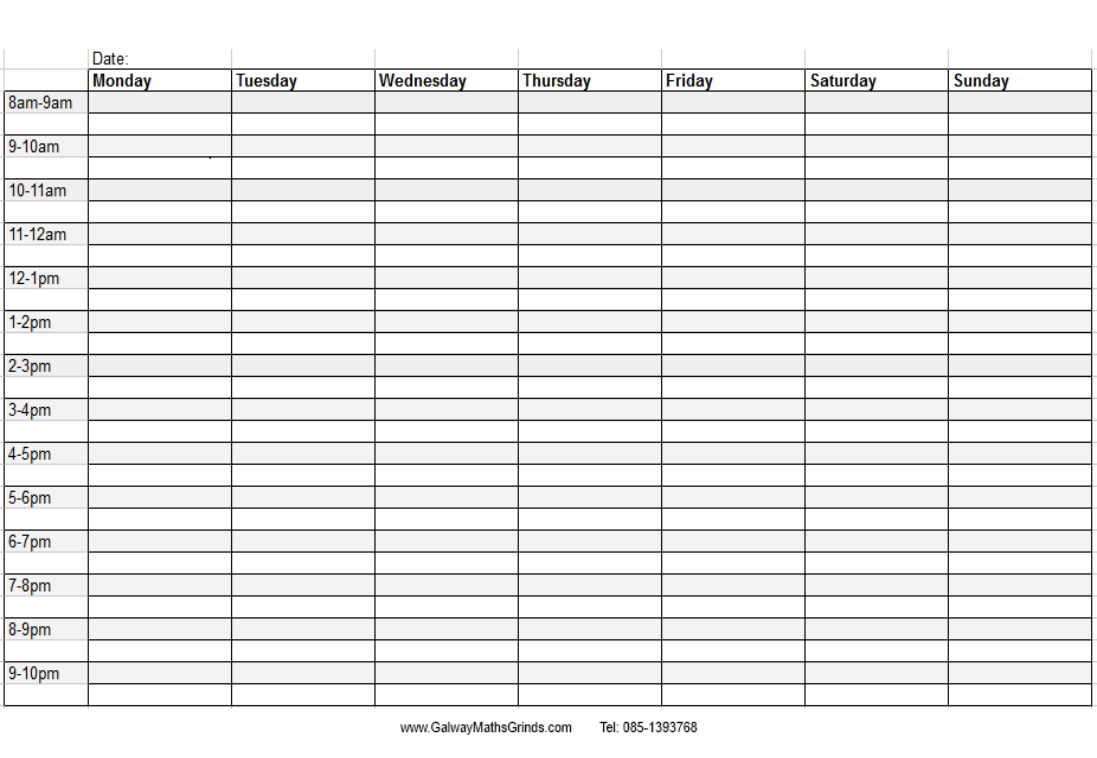 Blank Table Template | Time Table Templates Galway Maths Grinds
