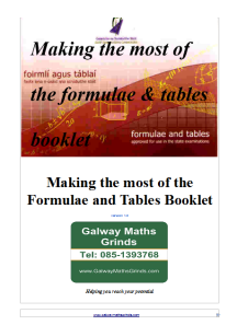 Formulae and Tables booklet