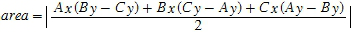 Area of triangle with known coordinates of vertices