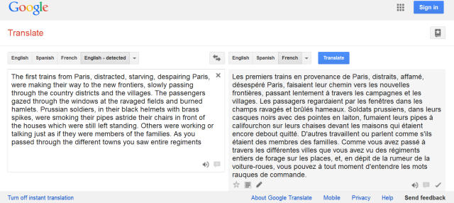 google as study aid:  translate to french