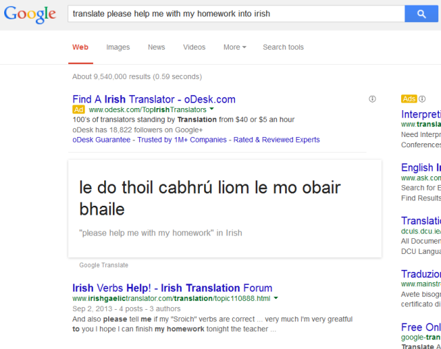 google translate to Irish