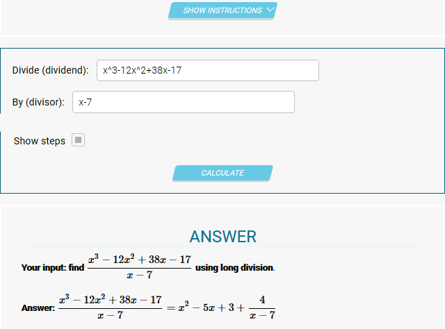 Polynomial Long Division Calculator Galway Maths Grinds