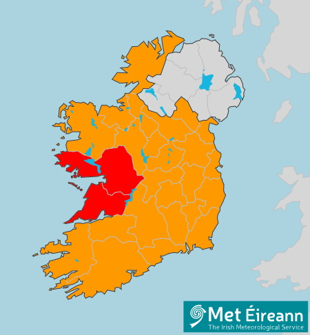 red weather warning map